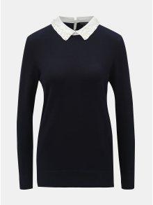 Tmavě modrý svetr s límečkem a korálky ve tvaru perliček Dorothy Perkins