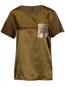 Khaki lesklé tričko s flitrovou výšivkou ONLY Sally