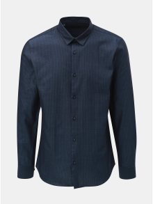 Tmavě modrá pruhovaná slim fit košile s dlouhým rukávem Selected Homme Slim John