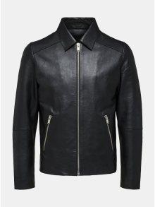Černá kožená bunda Selected Homme Clean