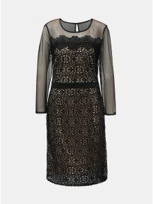Krémovo-černé krajkové šaty s průsvitnými detaily Dorothy Perkins
