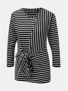 Bílo-černé pruhované tričko s uzlem Dorothy Perkins Tall