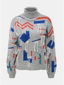 Šedý vzorovaný svetr s třásněmi Noisy May Markel