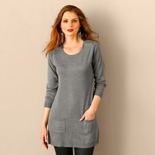 Blancheporte Tunikový pulovr se zipy šedý melír 46/48