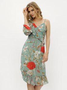 Zelené asymetrické květované šaty s volány MISSGUIDED