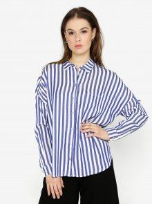 Krémovo-modrá pruhovaná košile s průstřihem na zádech ONLY Luisa