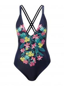 Tmavě modré jednodílné květované plavky Dorothy Perkins Beach