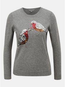 Šedý svetr s flitry ve tvaru ptáčků Dorothy Perkins Petite