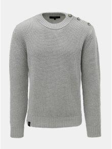 Světle šedý pánský svetr z Merino vlny a s knoflíky na ramenou Makia Admiral