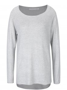 Světle šedý svetr s prodlouženým zadním dílem ONLY Mila