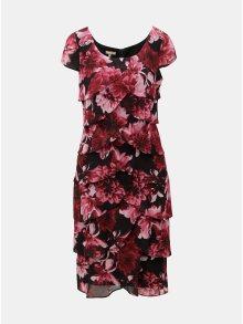 Černo-vínové květované šaty s volány M&Co