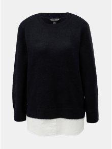 Tmavě modrý svetr s všitou košilovou částí Dorothy Perkins