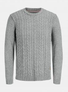 Šedý svetr s příměsí vlny Jack & Jones Johonson