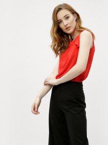 Červená květovaná halenka s volány M&Co