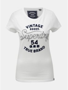 Bílé dámské tričko s našitým motivem Superdry Rope