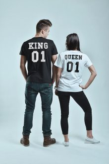 Set triček King 01 Queen 01 Black + White [KQ]