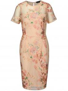 Růžové pouzdrové šaty s výšivkou Dorothy Perkins