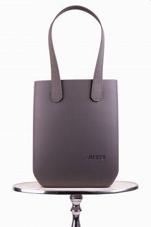 Justo kabelka J-High Grigio Scuro s šedými dlouhými koženkovými držadly