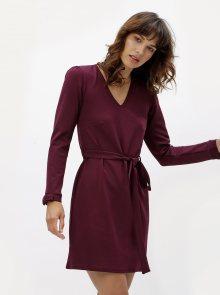 Vínové šaty s dlouhým rukávem Dorothy Perkins