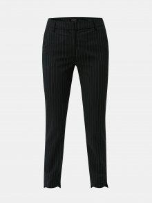 Černé pruhované chino kalhoty s příměsí vlny Selected Femme Famila