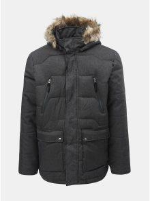 Tmavě šedá pánská voděodpudivá zimní bunda s odnímatelným kožíškem na kapuci LOAP Thron