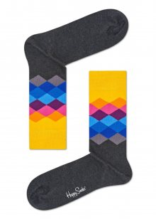 Happy Socks šedé ponožky Faded Diamond  - 36-40