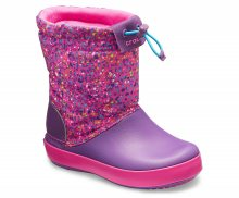 Crocs dětské fialové sněhule Crocband Lodgepoint Graphic Neon Magenta/Amethyst - C8