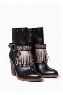Desigual černé kotníkové boty Folk Gipsy Patch - 36