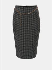 Tmavě šedá vzorovaná pouzdrová sukně s řetízkem ve zlaté barvě Dorothy Perkins