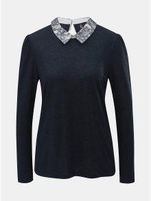 Tmavě modré tričko s dlouhým rukávem a krajkovým límečkem ONLY Wilma