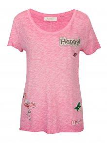 Růžové tričko s nášivkami Rich & Royal