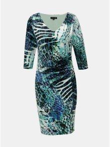 Modro-zelené vzorované šaty s řasením na boku Smashed Lemon