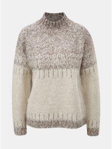 Béžovo-krémový vzorovaný svetr s rolákem ONLY Arlene