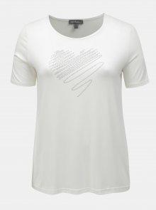 Krémové tričko s aplikací ve tvaru srdce Ulla Popken