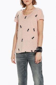 Scotch&Soda růžové tričko s černými vzory - XS