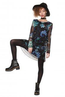 Desigual černé šaty Machine s barevným potiskem   - S