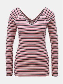 Bílo-růžové pruhované tričko s véčkovým výstřihem na zádech ONLY Fifi