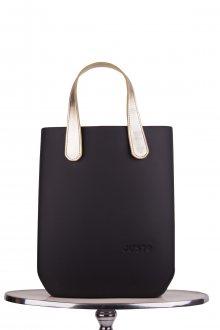 Justo kabelka J-High Nero se zlatými krátkými koženkovými držadly