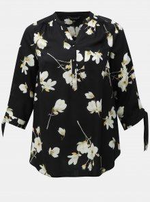 Černá květovaná halenka s 3/4 rukávy Dorothy Perkins Curve
