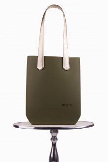 Justo kabelka J-High Olive s dlouhými zlatými koženkovými držadly