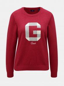 Červený dámský svetr s příměsí vlny GANT Logo Crew