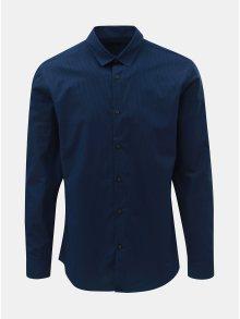 Tmavě modrá slim fit košile s drobnými pruhy Selected Homme Slim John