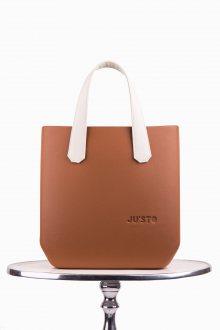 Justo J-Half kabelka Cuoio se smetanovými krátkými koženkovými držadly