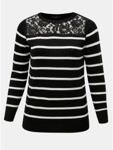 Bílo-černý pruhovaný svetr s krajkovým sedlem Dorothy Perkins Curve