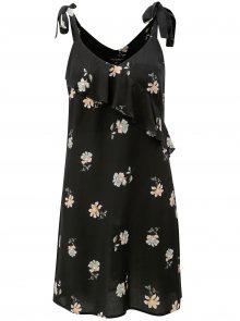 Černé květované šaty na ramínka s volánem Dorothy Perkins