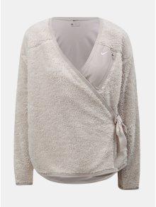 Béžový dámský zavinovací kardigan s umělým kožíškem Nike