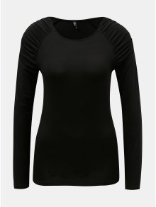 Černé tričko s řasením na ramenou ONLY Runa