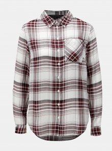 Vínovo-bílá kostkovaná košile s náprsní kapsou Dorothy Perkins