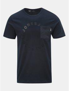Tmavě modré tričko s náprsní kapsou a potiskem Jack & Jones Moral