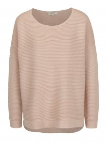 Světle růžový volný žebrovaný svetr Selected Femme Laua